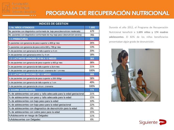 PROGRAMA DE RECUPERACIÓN NUTRICIONAL