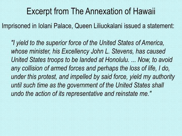 Excerpt from The Annexation of Hawaii