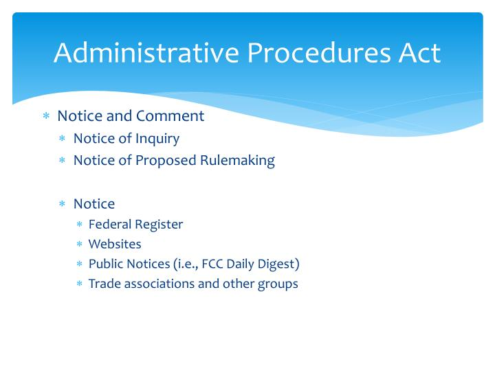 Administrative Procedures Act