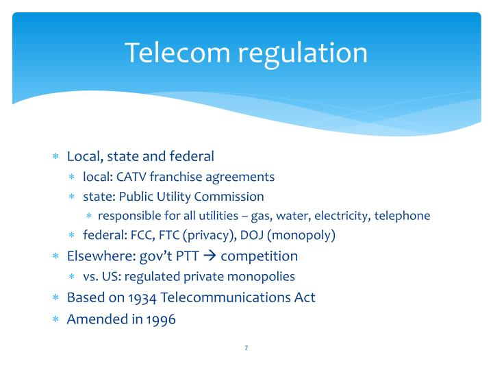 Telecom regulation