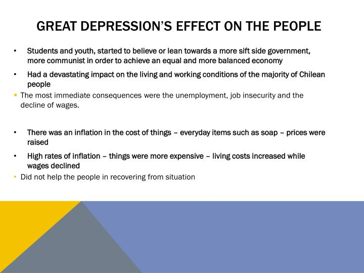 Great depression's effect on the people