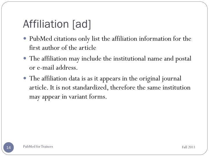Affiliation [ad]