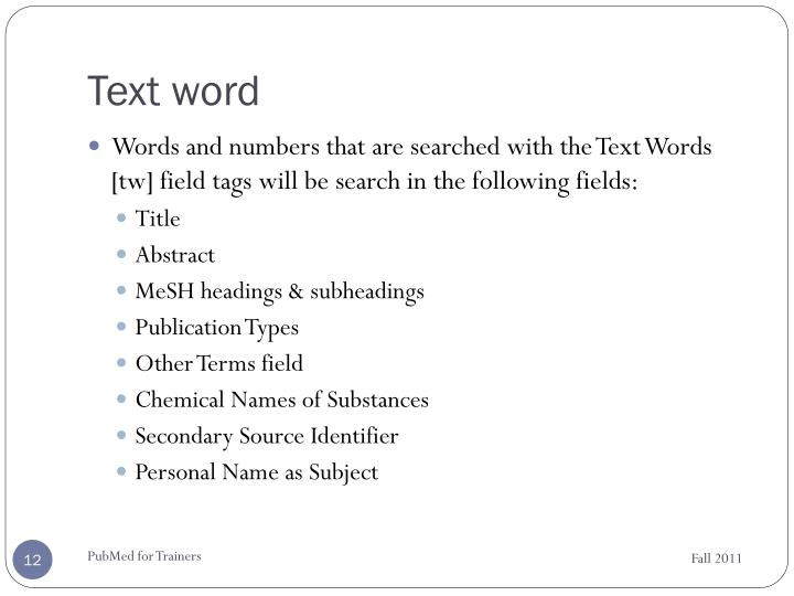 Text word