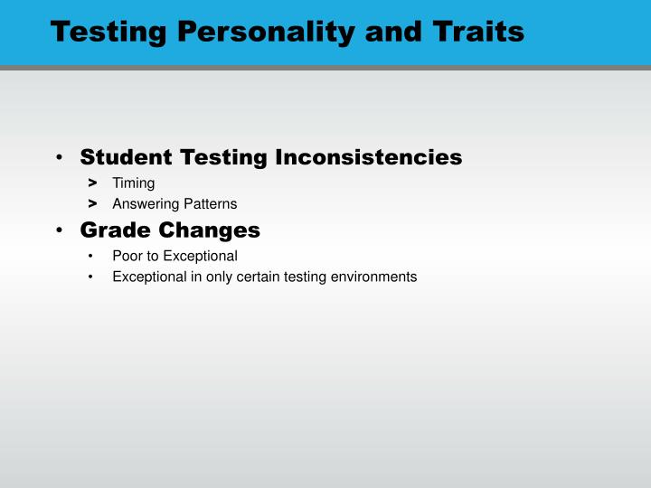 Student Testing Inconsistencies