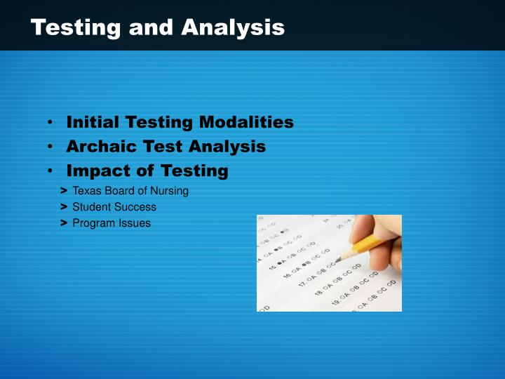 Testing and analysis