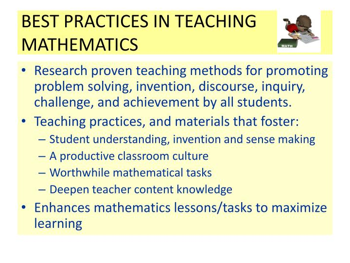 BEST PRACTICES IN TEACHING MATHEMATICS
