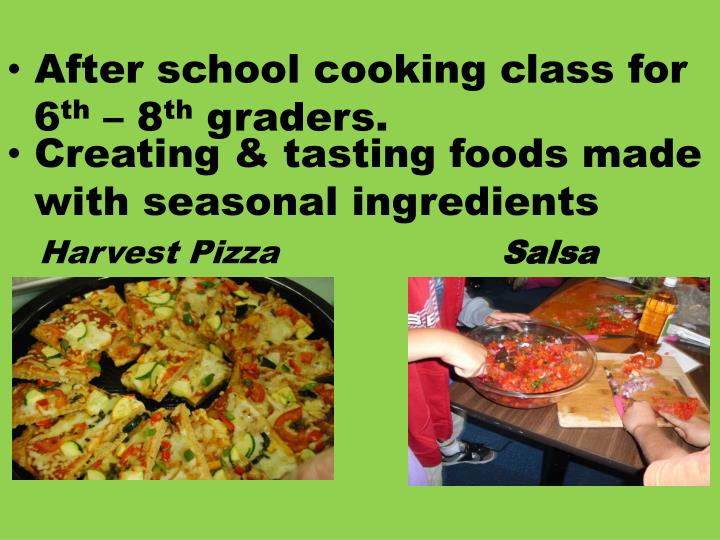 After school cooking class for