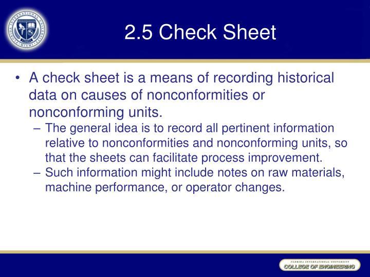 2.5 Check Sheet