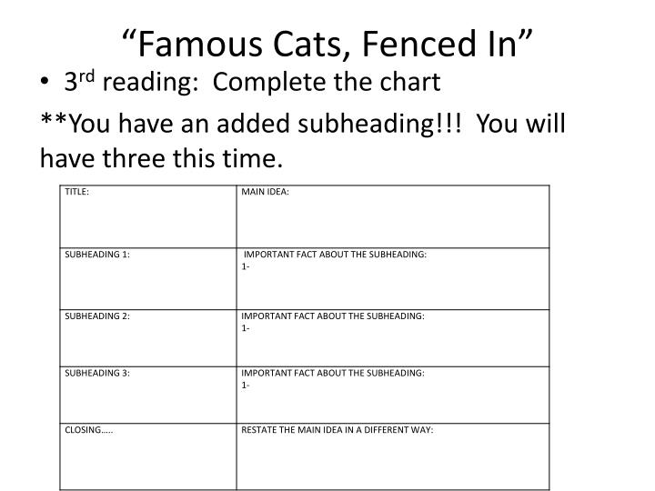 """""""Famous Cats, Fenced In"""""""