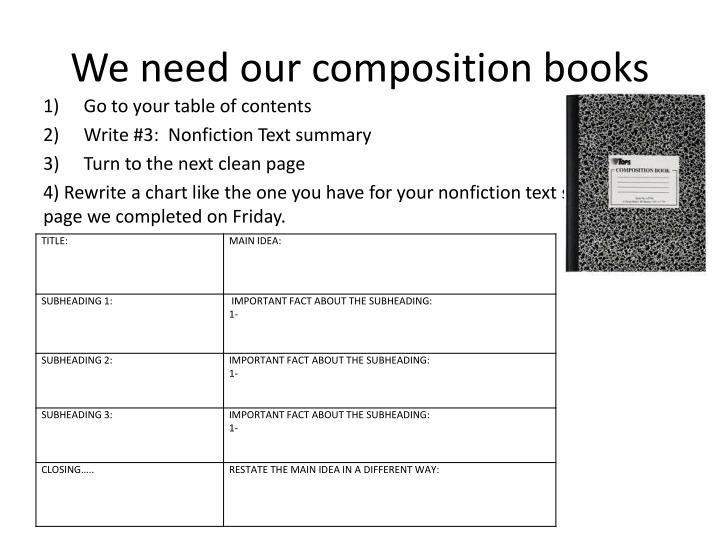 We need our composition books