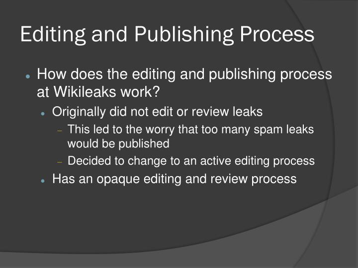 Editing and Publishing Process