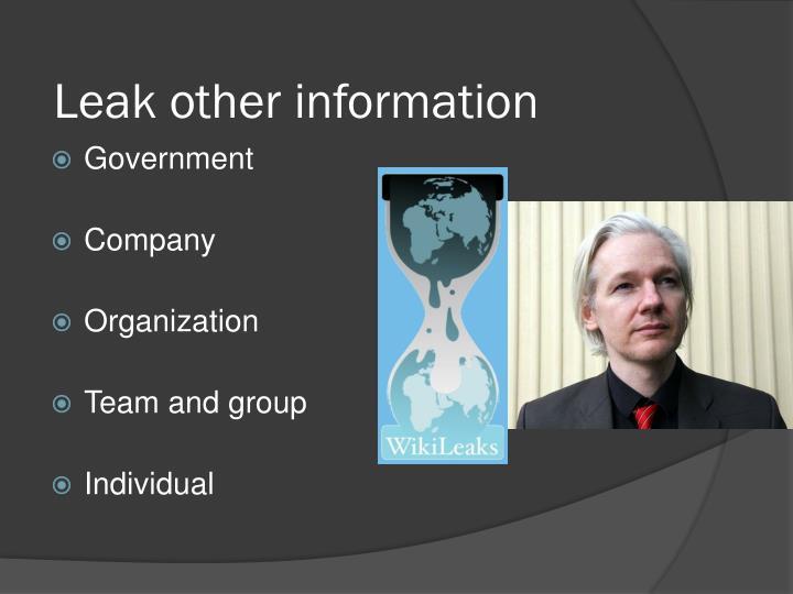Leak other information