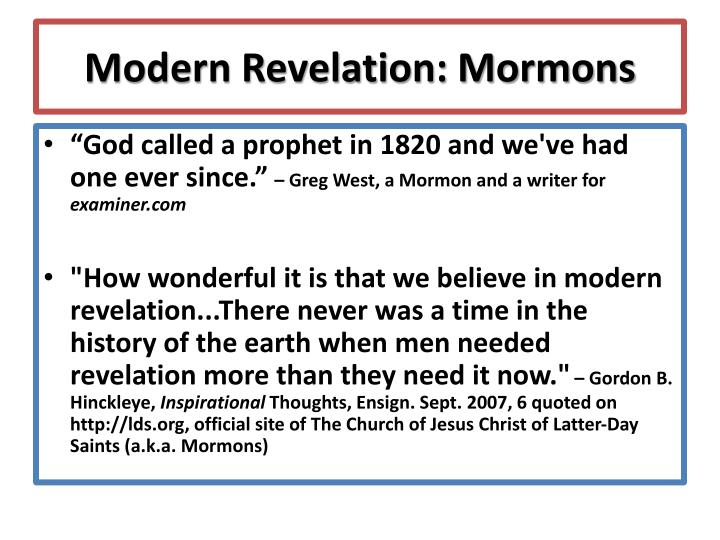 Modern Revelation: Mormons