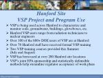 hanford site vsp project and program use