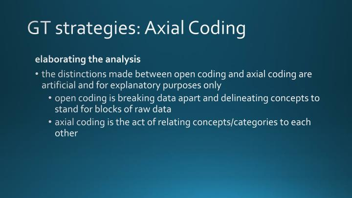 GT strategies: Axial Coding