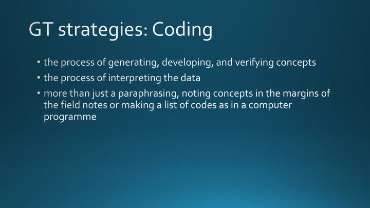 GT strategies: Coding