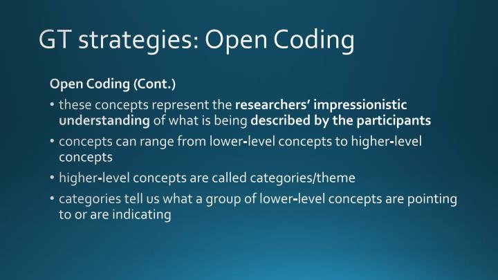 GT strategies: Open Coding