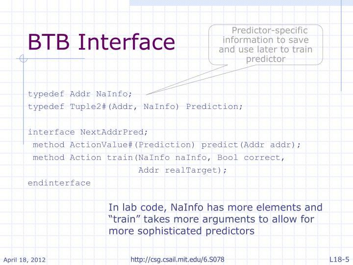 BTB Interface