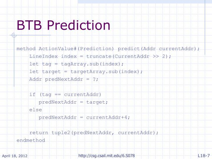 BTB Prediction