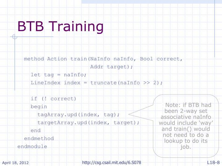 BTB Training