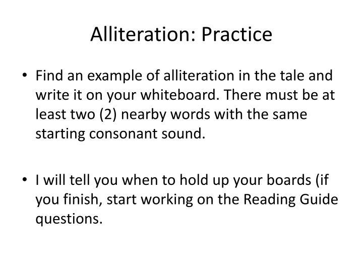 Alliteration: Practice