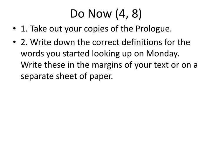Do Now (4, 8)