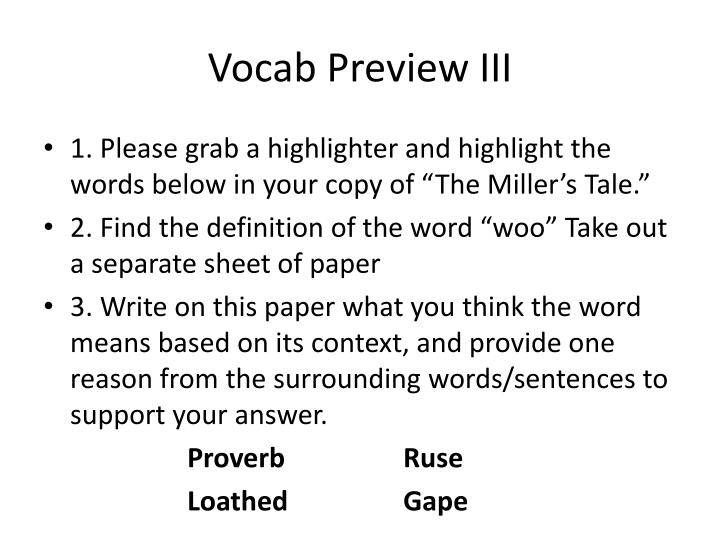 Vocab Preview III