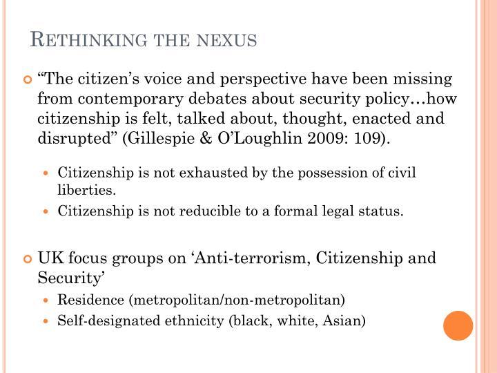 Rethinking the nexus