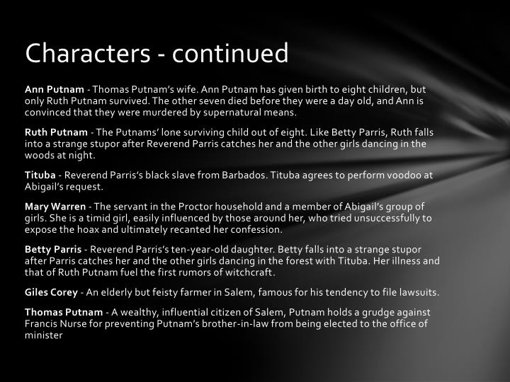 Characters - continued