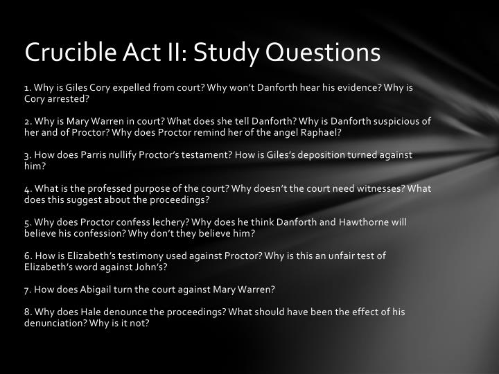 The Crucible Discussion Questions - Page 1 - Course Hero