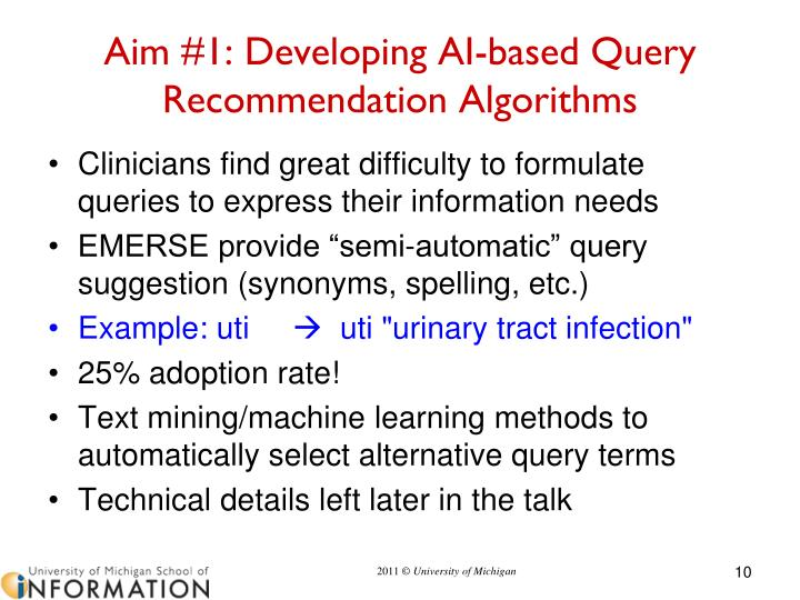 Aim #1: Developing AI-based Query Recommendation