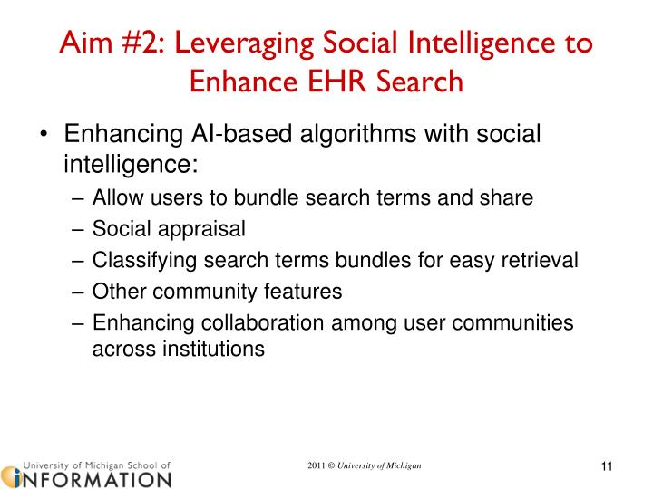 Aim #2: Leveraging Social Intelligence to Enhance EHR