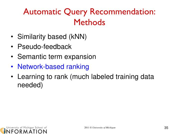 Automatic Query Recommendation: Methods