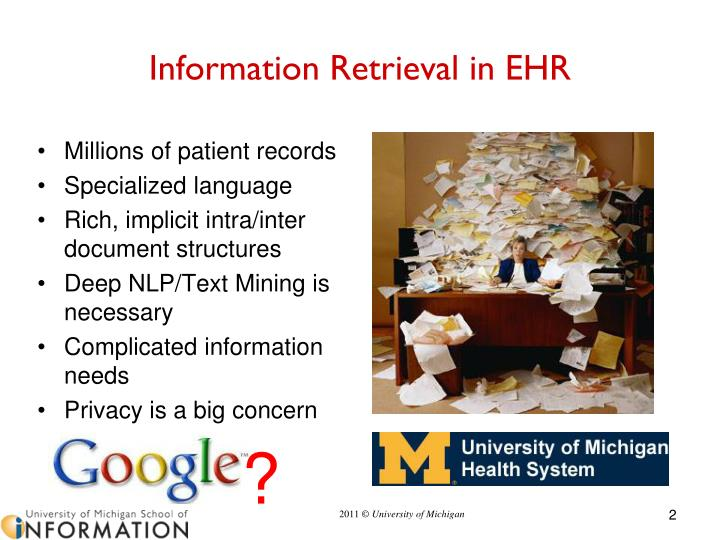 Information retrieval in ehr