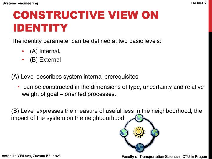 Constructive view on identity
