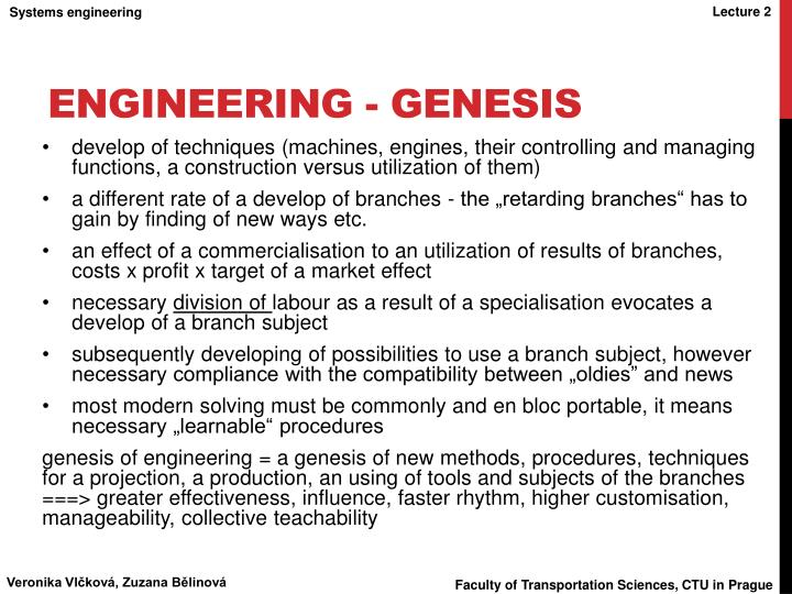 Engineering - genesis