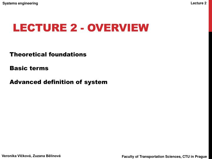 Lecture 2 - Overview