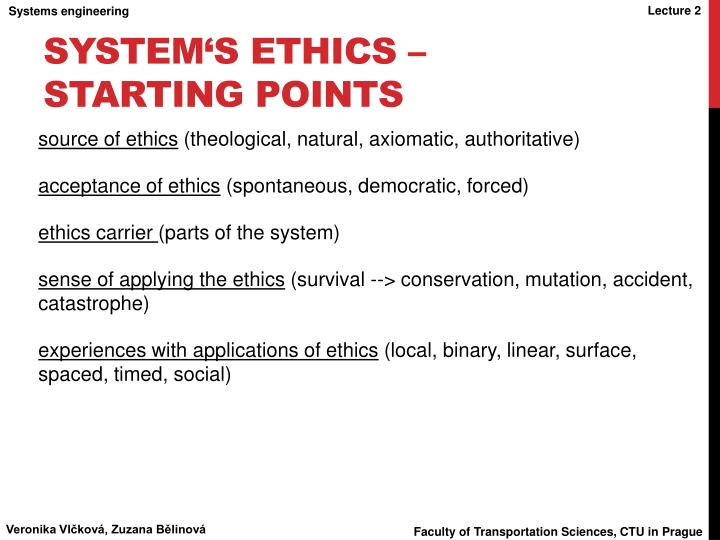 System's ethics – starting points