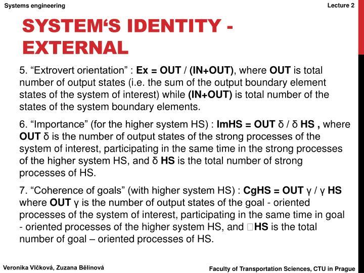 System's Identity - external