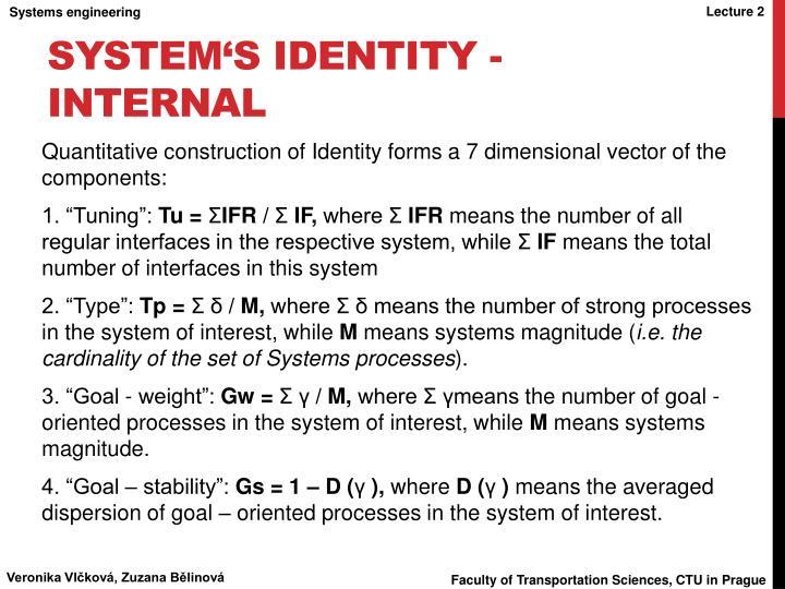 System's Identity - internal