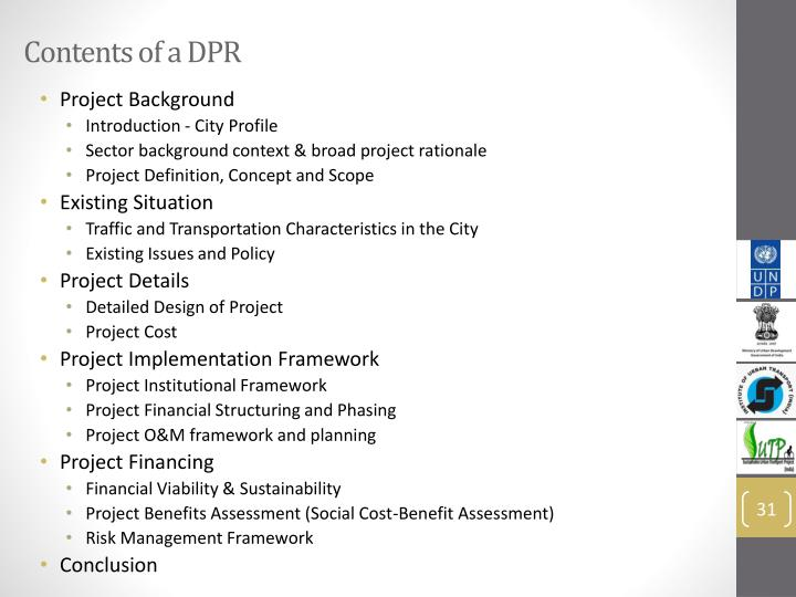 Contents of a DPR