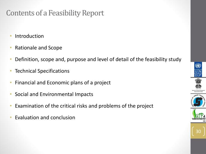 Contents of a Feasibility Report