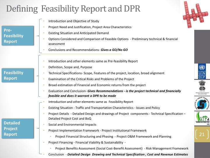Defining  Feasibility Report and DPR