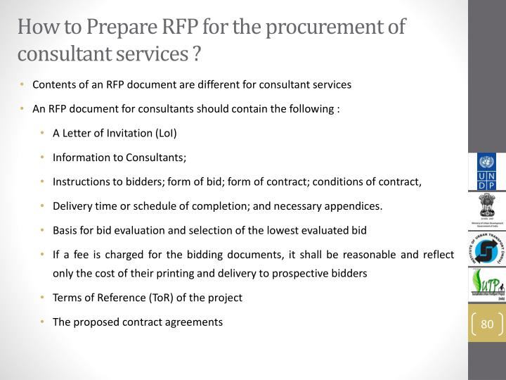 How to Prepare RFP for the procurement of consultant services ?