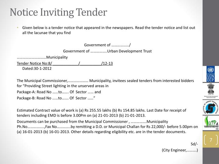 Notice Inviting Tender