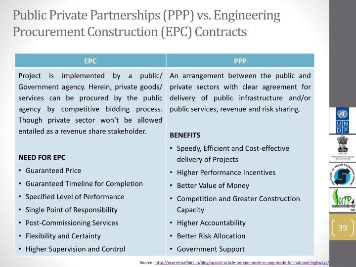 Public Private Partnerships (PPP) vs. Engineering Procurement Construction (