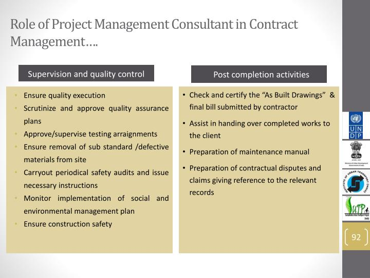 Role of Project Management Consultant in Contract Management….