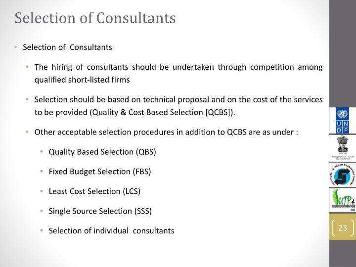 Selection of Consultants