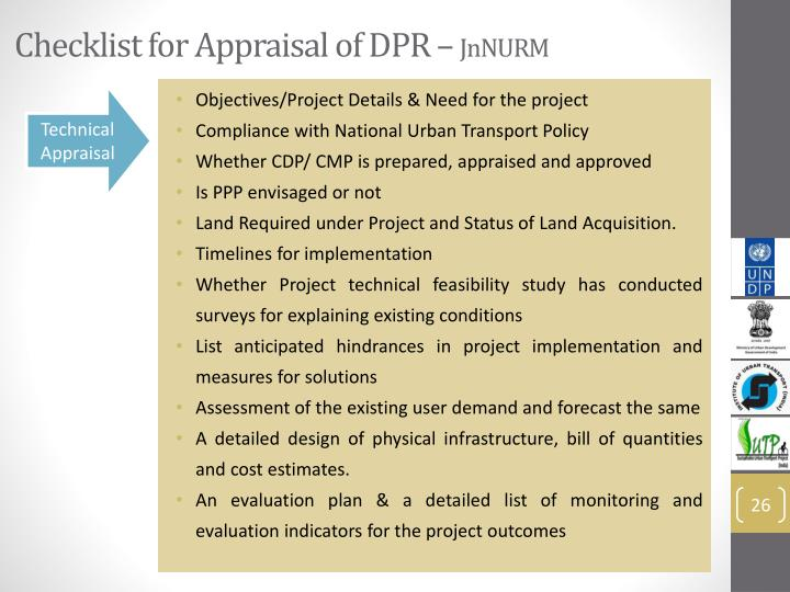 Checklist for Appraisal of DPR –
