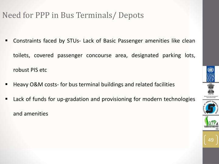 Need for PPP in Bus Terminals/ Depots